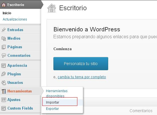 importar menu herramientas wordpress